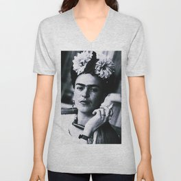 Frida Kahlo Smoke Unisex V-Neck