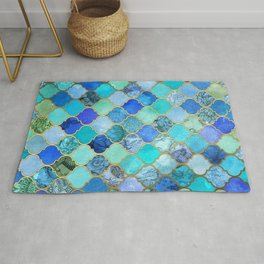 Cobalt Blue, Aqua & Gold Decorative Moroccan Tile Pattern Rug