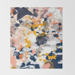 Stella - Abstract painting in modern fresh colors navy, orange, pink, cream, white, and gold Throw Blanket