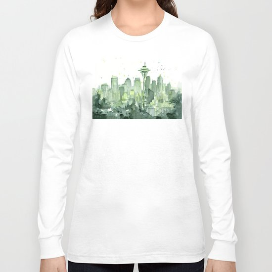 Seattle Watercolor Painting Long Sleeve T-shirt