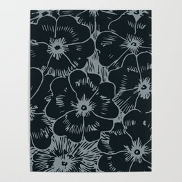 Dark Fall Floral Poster