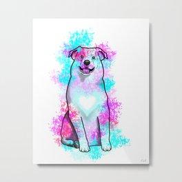 Australian Shepherd in Watercolor Splash Metal Print