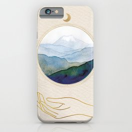 Mountain Watercolor Scene With Golden Moon And Hand Line Art iPhone Case