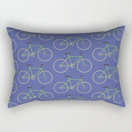 Green bikes on blue Rectangular Pillow