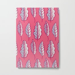 Pink Leaves Abstract Decorative Pattern Metal Print
