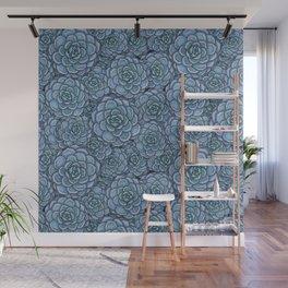Blue Succulent Pattern Wall Mural