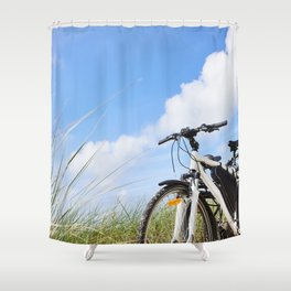 Bicycles tourists traveling in nature Shower Curtain