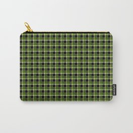 Green Plaid Black Background Carry-All Pouch