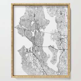 Seattle White Map Serving Tray