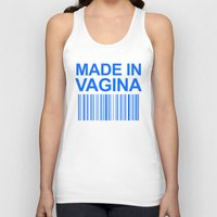 vagina Tank Tops featuring MADE IN VAGINA BABY FUNNY BARCODE (Baby Boy Blue) by CreativeAngel