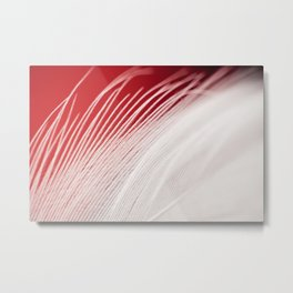 Extreme closeup of white feather Metal Print