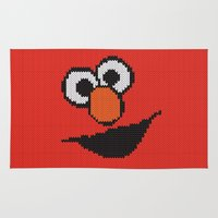 elmo Area & Throw Rugs featuring Knit Elmo by colli1 3designs