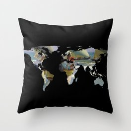 World Map Silhouette - Women and Sailboats Throw Pillow