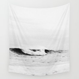 Minimalist Black and White Ocean Wave Photograph Wall Tapestry