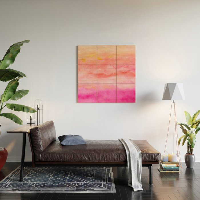 Bright pink orange sunset watercolor hand painted Wood Wall Art by ...