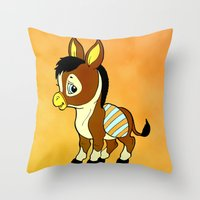 donkey Throw Pillows featuring Childhood Donkey by Texnotropio