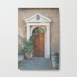 Church Door with Olive Branches at the Chapel in Methoni Castle | Greece Travel Photography Metal Print