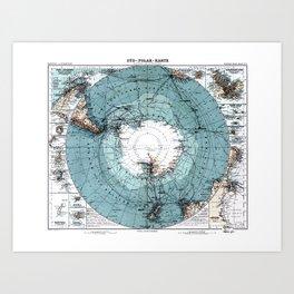 Antarctica Map Art Print