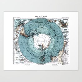 Antarctica Map Art Print