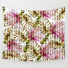Tropical pink purple sunshine yellow palm tree stripes Wall Tapestry