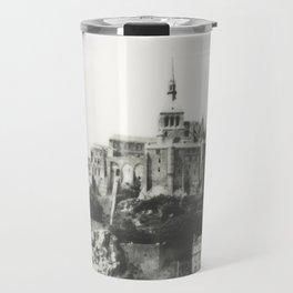 Mont Saint-Michel in Black and White - Instant Film Photograph Travel Mug