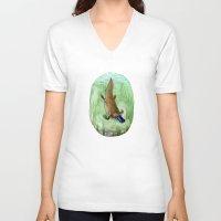 platypus V-neck T-shirts featuring Platypus by Kirsten Sevig
