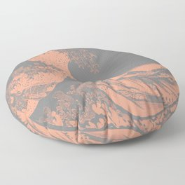 The Great Wave Peach & Gray Floor Pillow