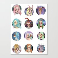 zodiac Canvas Prints featuring Zodiac by Clementine Petrova