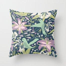 Hummingbird In Lilies Throw Pillow