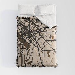 Dallas Street Map // Light Brown Theme Comforters