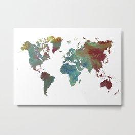 World Map After dark Metal Print
