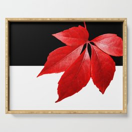 Red Leaf With Black & White Serving Tray