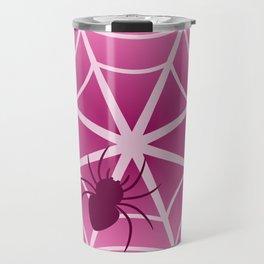 Spider web in pink Travel Mug
