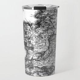 Vintage Black and White Ireland MAp Travel Mug