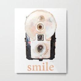Retro Watercolor Camera SMILE! Metal Print