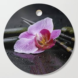Pink orchid zen black still life Asia Cutting Board