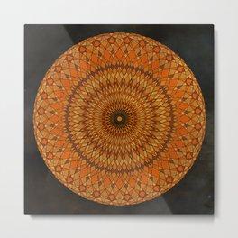Orange Psychedelic Mandala Kaleidoscope Metal Print