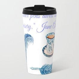 Jane Austen Quote with tea and ink Travel Mug