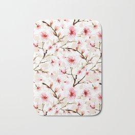 Watercolor cherry blossom pattern Bath Mat