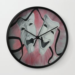 Two Face Mask Wall Clock