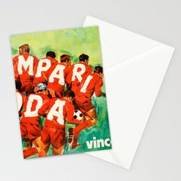 Vintage 1970 Soccer Motif Campari Soda Advertisement by Pijoan Stationery Cards