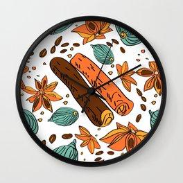 Spices. Pattern. Cinnamon, cardamom, nutmеgб coffee bean. Wall Clock