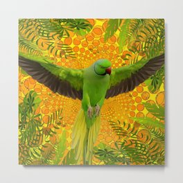 MAGNIFICENT GREEN PARROT GOLD JUNGLE MODERN ART Metal Print