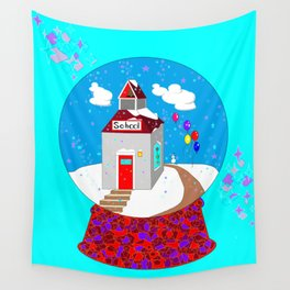 A Winter Wonderland Snow Globe School House Wall Tapestry