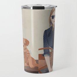 Lady In A Blue Blazer With A Puppy Travel Mug