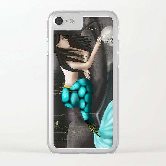 Mermaid Playing with Skull Clear iPhone Case