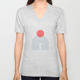 Mid Century Modern Geometric 14 (in Midnight Blue and Coral) Unisex V-Neck