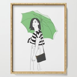 Green Umbrella Fashion Street Style Girl Serving Tray