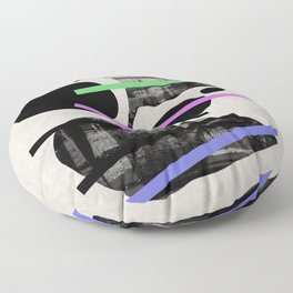 PENSIVE - Eclectic blend of geometric shapes, pastel colours, and black and white textures Floor Pillow