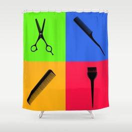 Hair salon pop art Shower Curtain